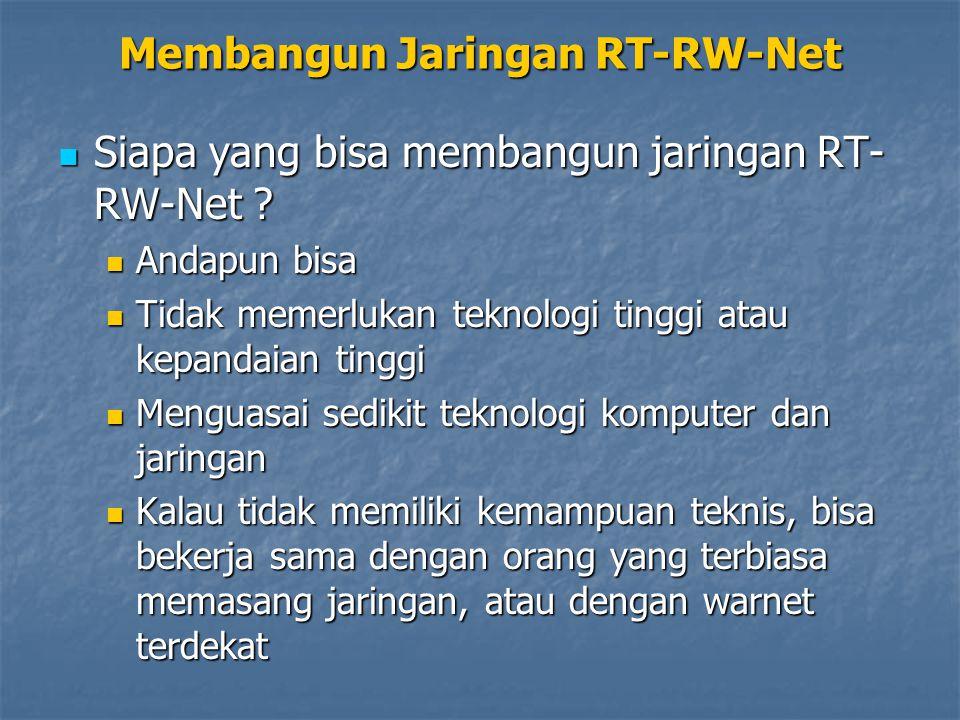 Membangun Jaringan RT-RW-Net Di Amerika, jaringan RT-RW-Net juga dikembangkan di berbagai 'kampung' dengan metode yang lebih terorganisir dan melalui koperasi Di Amerika, jaringan RT-RW-Net juga dikembangkan di berbagai 'kampung' dengan metode yang lebih terorganisir dan melalui koperasi Di Indonesia, ada baiknya dimulai dengan komunitas RT, lalu RW, kemudian bisa skala Kecamatan dan Kelurahan Di Indonesia, ada baiknya dimulai dengan komunitas RT, lalu RW, kemudian bisa skala Kecamatan dan Kelurahan
