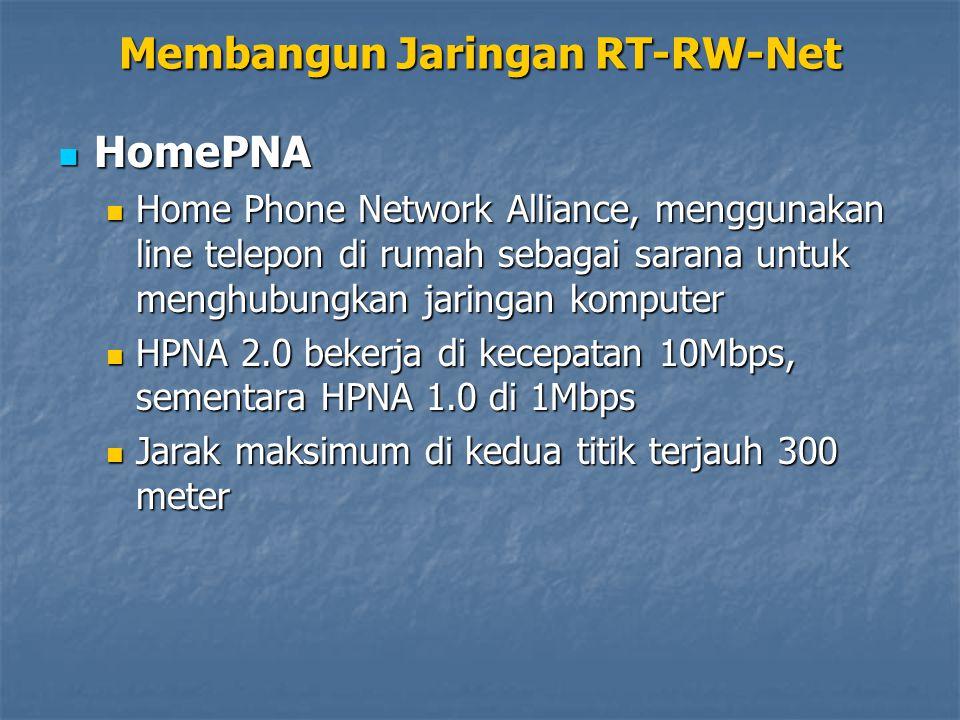 HomePNA HomePNA Home Phone Network Alliance, menggunakan line telepon di rumah sebagai sarana untuk menghubungkan jaringan komputer Home Phone Network Alliance, menggunakan line telepon di rumah sebagai sarana untuk menghubungkan jaringan komputer HPNA 2.0 bekerja di kecepatan 10Mbps, sementara HPNA 1.0 di 1Mbps HPNA 2.0 bekerja di kecepatan 10Mbps, sementara HPNA 1.0 di 1Mbps Jarak maksimum di kedua titik terjauh 300 meter Jarak maksimum di kedua titik terjauh 300 meter Membangun Jaringan RT-RW-Net
