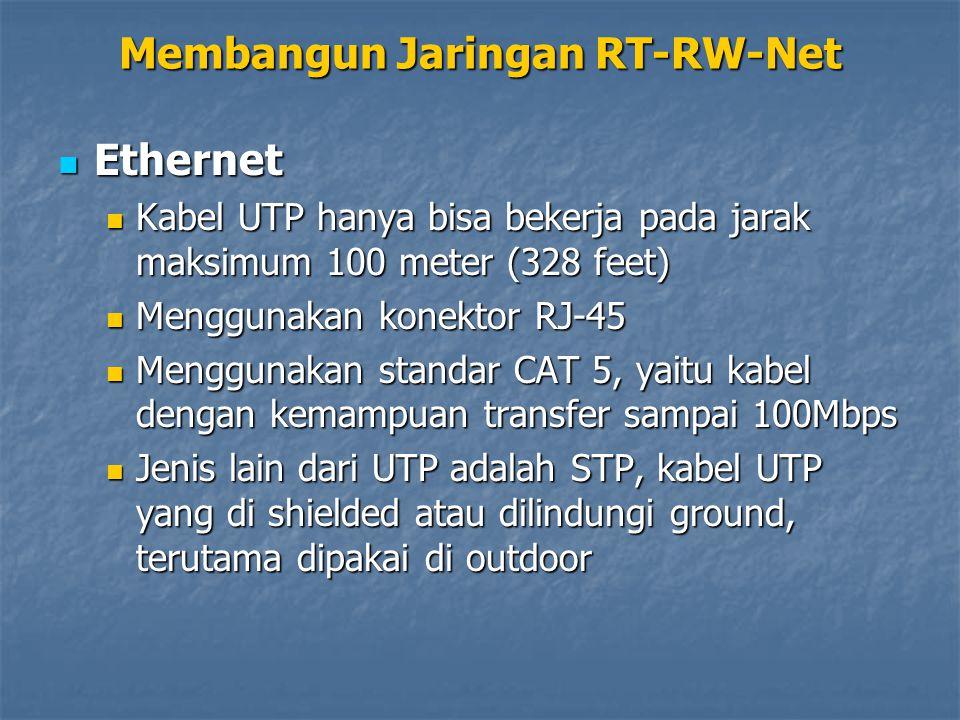 Ethernet Ethernet Kabel UTP hanya bisa bekerja pada jarak maksimum 100 meter (328 feet) Kabel UTP hanya bisa bekerja pada jarak maksimum 100 meter (328 feet) Menggunakan konektor RJ-45 Menggunakan konektor RJ-45 Menggunakan standar CAT 5, yaitu kabel dengan kemampuan transfer sampai 100Mbps Menggunakan standar CAT 5, yaitu kabel dengan kemampuan transfer sampai 100Mbps Jenis lain dari UTP adalah STP, kabel UTP yang di shielded atau dilindungi ground, terutama dipakai di outdoor Jenis lain dari UTP adalah STP, kabel UTP yang di shielded atau dilindungi ground, terutama dipakai di outdoor Membangun Jaringan RT-RW-Net