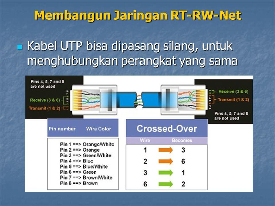 Kabel UTP bisa dipasang silang, untuk menghubungkan perangkat yang sama Kabel UTP bisa dipasang silang, untuk menghubungkan perangkat yang sama Membangun Jaringan RT-RW-Net