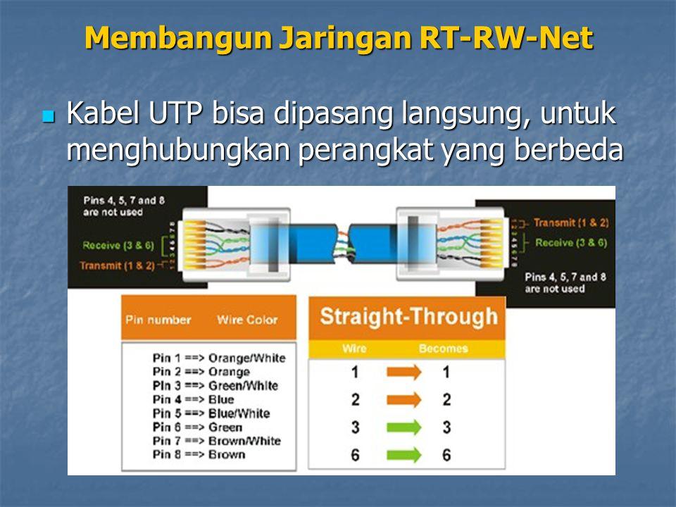 Kabel UTP bisa dipasang langsung, untuk menghubungkan perangkat yang berbeda Kabel UTP bisa dipasang langsung, untuk menghubungkan perangkat yang berb