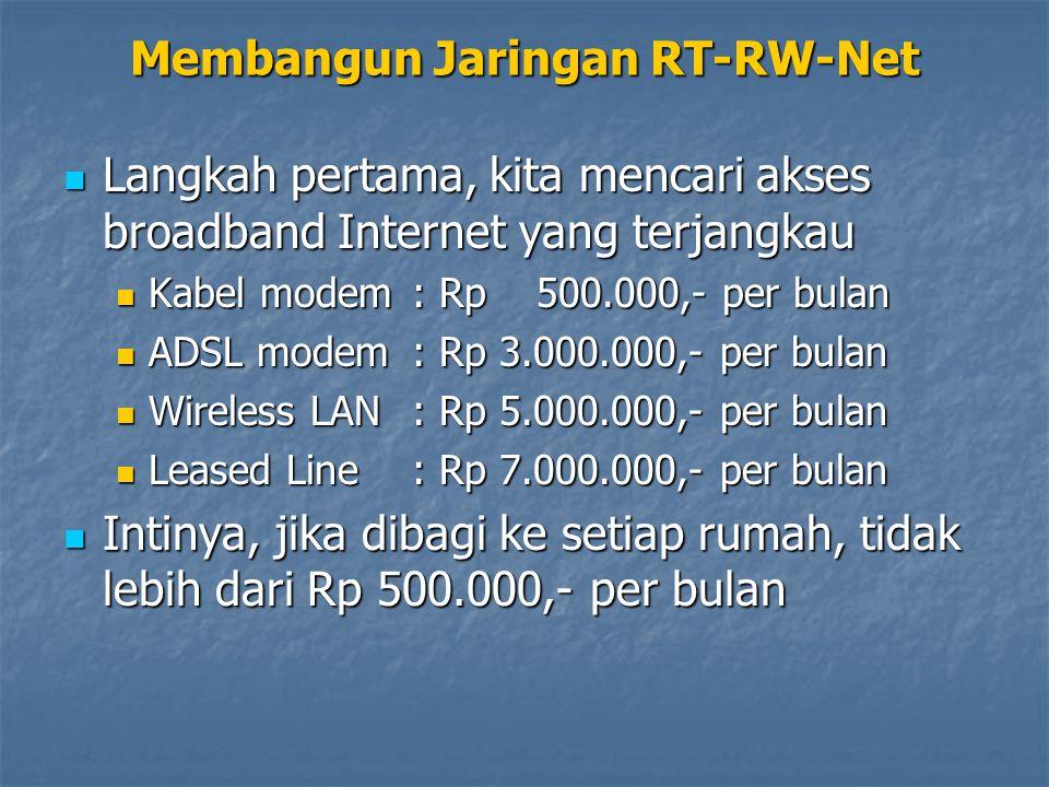 Membangun Jaringan RT-RW-Net Langkah pertama, kita mencari akses broadband Internet yang terjangkau Langkah pertama, kita mencari akses broadband Internet yang terjangkau Kabel modem : Rp 500.000,- per bulan Kabel modem : Rp 500.000,- per bulan ADSL modem : Rp 3.000.000,- per bulan ADSL modem : Rp 3.000.000,- per bulan Wireless LAN : Rp 5.000.000,- per bulan Wireless LAN : Rp 5.000.000,- per bulan Leased Line : Rp 7.000.000,- per bulan Leased Line : Rp 7.000.000,- per bulan Intinya, jika dibagi ke setiap rumah, tidak lebih dari Rp 500.000,- per bulan Intinya, jika dibagi ke setiap rumah, tidak lebih dari Rp 500.000,- per bulan