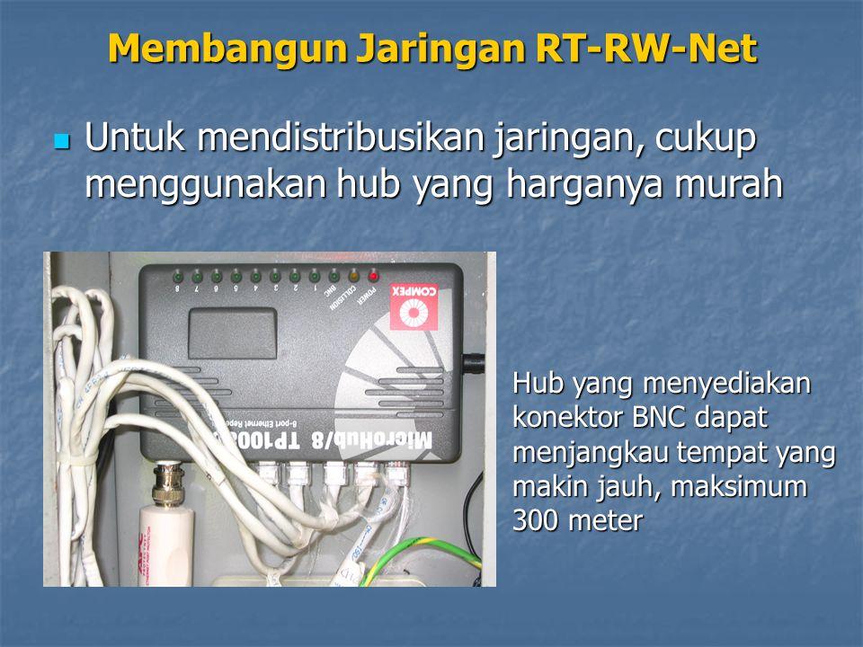 Membangun Jaringan RT-RW-Net Untuk mendistribusikan jaringan, cukup menggunakan hub yang harganya murah Untuk mendistribusikan jaringan, cukup menggun
