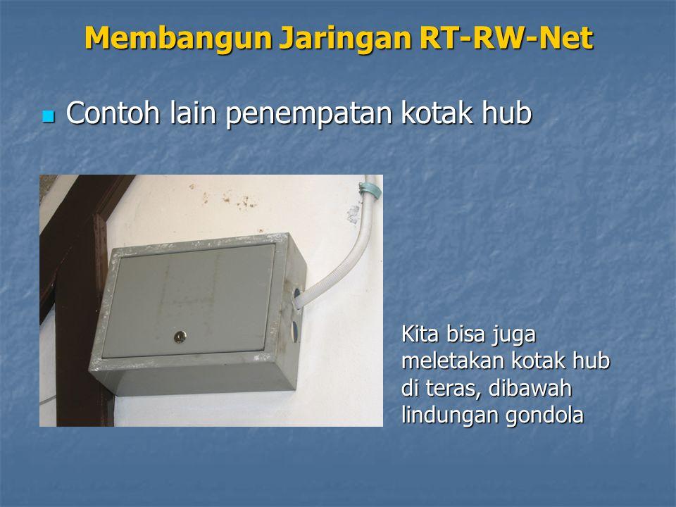 Membangun Jaringan RT-RW-Net Contoh lain penempatan kotak hub Contoh lain penempatan kotak hub Kita bisa juga meletakan kotak hub di teras, dibawah lindungan gondola