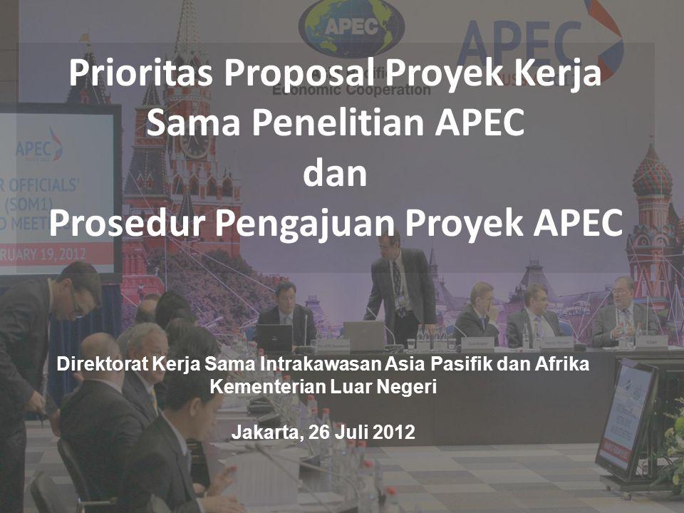Kementerian Luar Negeri Republik Indonesia Langkah Awal Pengajuan Proyek 1.PO menyiapkan nota konsep dan kriteria pendanaan 2.PO menyerahkan nota konsep kepada fora terkait untuk dikomentari dan untuk mendapatkan co-sponsor melalui PD 3.Fora akan mengulas kriteria pendanaan APEC untuk mendukung dan memprioritaskan nota konsep 4.Menyerahkan kembali nota konsep yang sudah didukung didalam fora kepada Sekretariat APEC (melalui PD) sebelum tenggat penyerahan yang ditentukan oleh BMC 5.Penilaian prioritas nota konsep oleh BMC 6.Penentuan ranking nota konsep oleh PDM III.