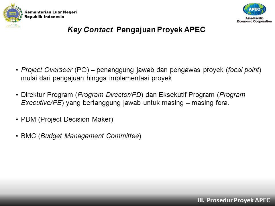 Kementerian Luar Negeri Republik Indonesia III. Prosedur Proyek APEC Key Contact Pengajuan Proyek APEC Project Overseer (PO) – penanggung jawab dan pe