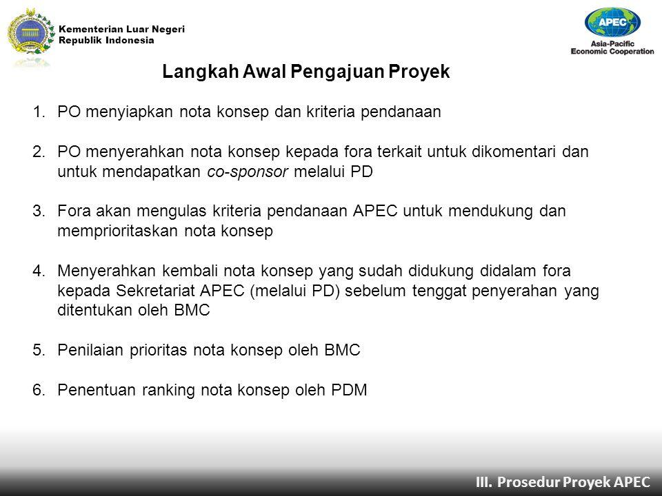 Kementerian Luar Negeri Republik Indonesia Langkah Awal Pengajuan Proyek 1.PO menyiapkan nota konsep dan kriteria pendanaan 2.PO menyerahkan nota kons