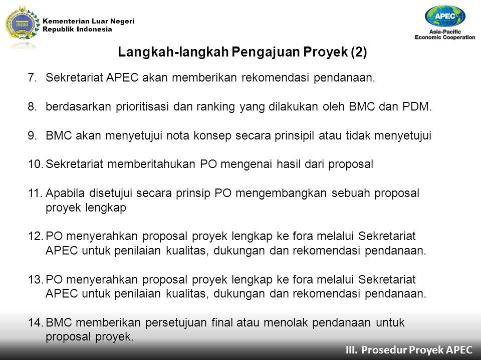 Kementerian Luar Negeri Republik Indonesia Langkah-langkah Pengajuan Proyek (2) 7.Sekretariat APEC akan memberikan rekomendasi pendanaan. 8.berdasarka