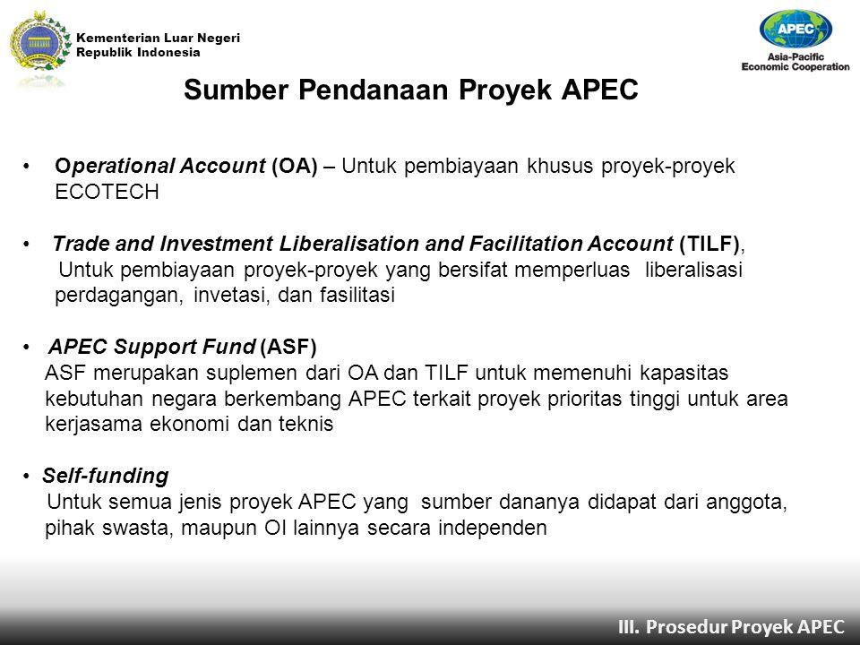 Kementerian Luar Negeri Republik Indonesia Sumber Pendanaan Proyek APEC Operational Account (OA) – Untuk pembiayaan khusus proyek-proyek ECOTECH Trade