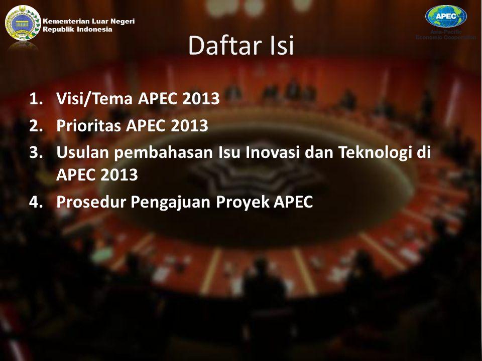 Daftar Isi 1.Visi/Tema APEC 2013 2.Prioritas APEC 2013 3.Usulan pembahasan Isu Inovasi dan Teknologi di APEC 2013 4.Prosedur Pengajuan Proyek APEC Kem