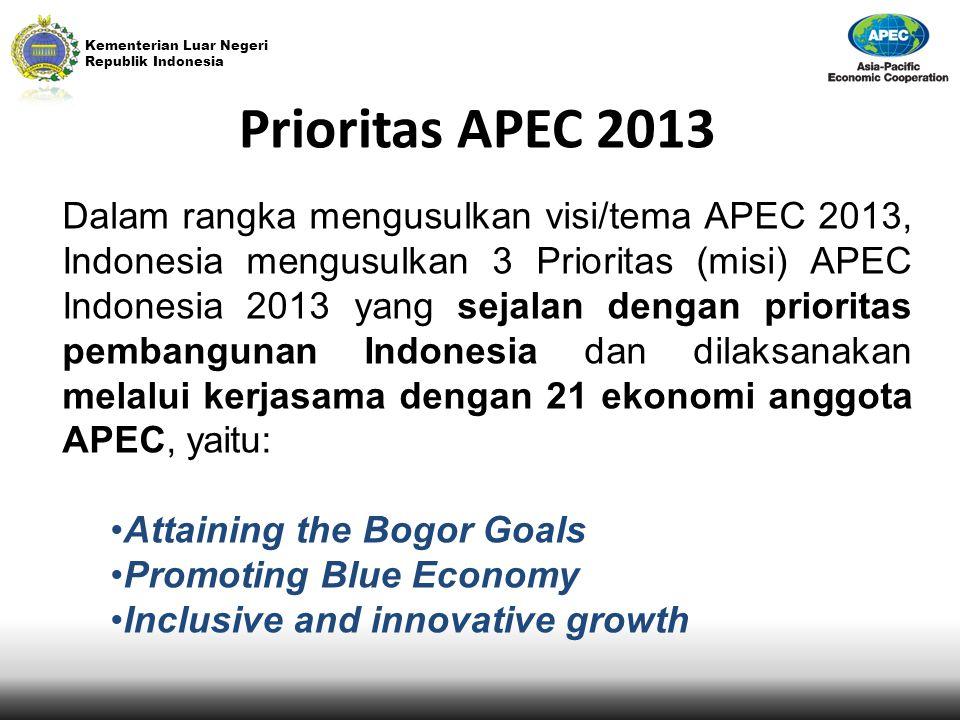 Kementerian Luar Negeri Republik Indonesia Prioritas APEC 2013 Dalam rangka mengusulkan visi/tema APEC 2013, Indonesia mengusulkan 3 Prioritas (misi)