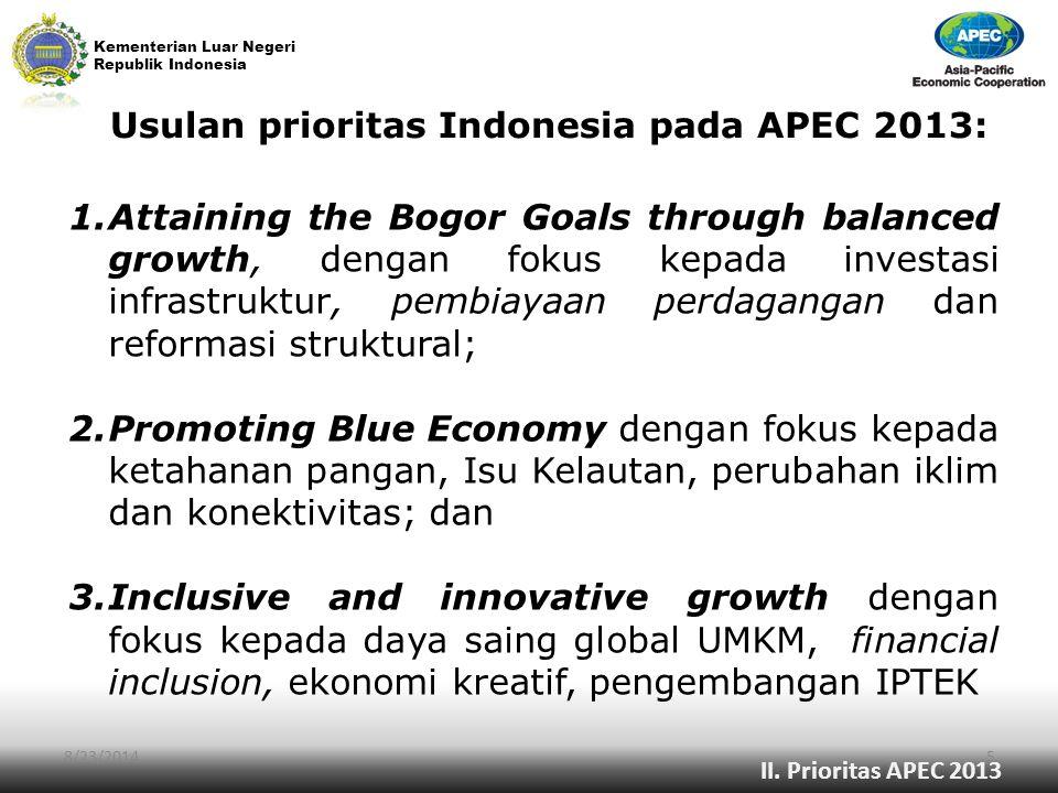Kementerian Luar Negeri Republik Indonesia Usulan prioritas Indonesia pada APEC 2013: 8/23/20145 1.Attaining the Bogor Goals through balanced growth,