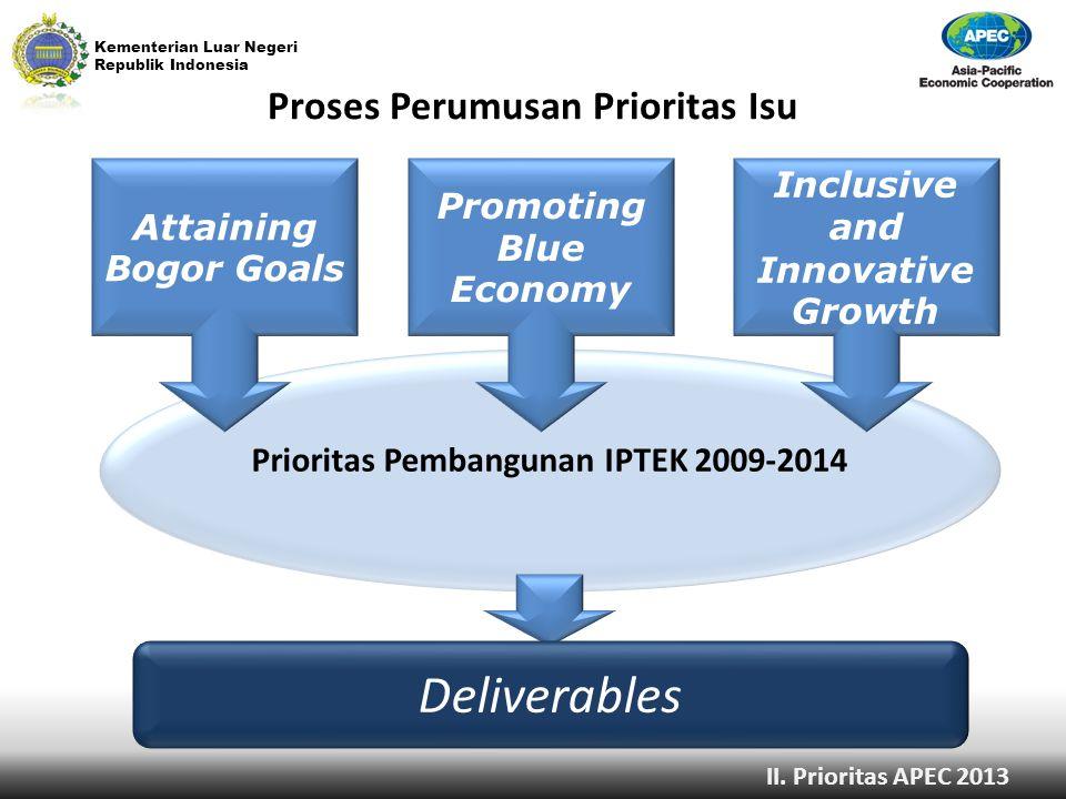 Kementerian Luar Negeri Republik Indonesia Proses Perumusan Prioritas Isu Prioritas Pembangunan IPTEK 2009-2014 Attaining Bogor Goals Deliverables Pro