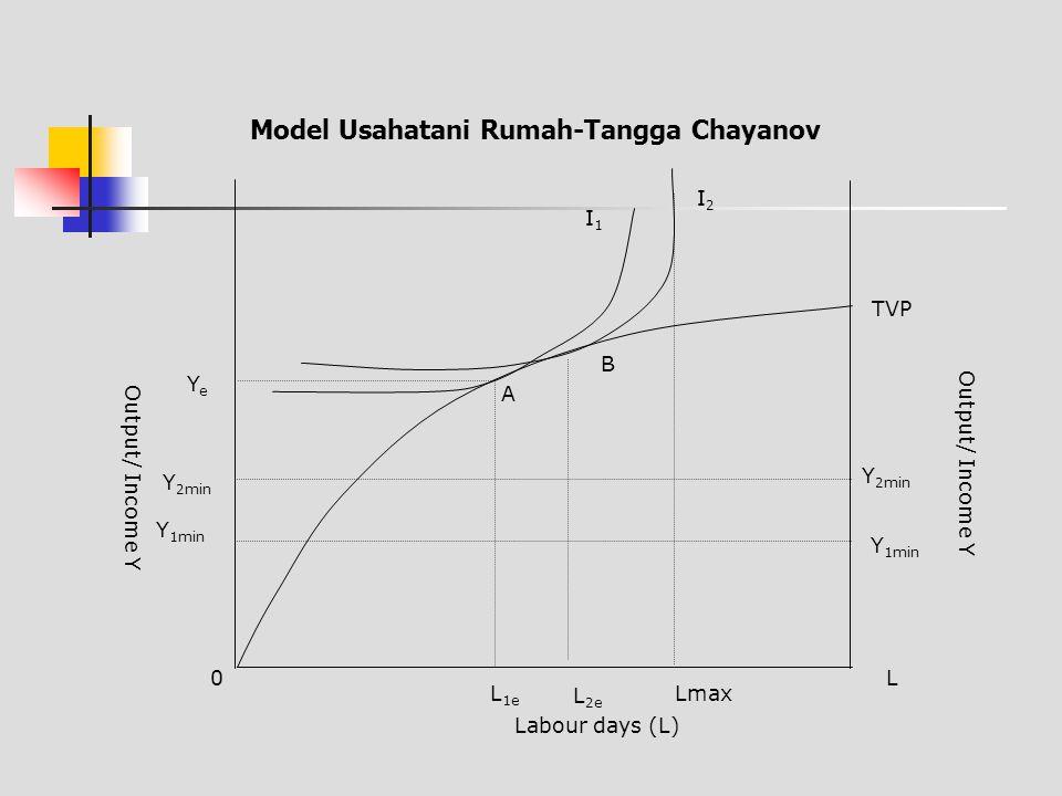 Keseimbangan baru di titik B menunjukkan adanya peningkatan income karena digunakannya tambahan TK dalam keluarga dimana dalam fungsi produksi yang given tersebut juga berimplikasi pada marginal produk dari TK (MVPL) adalah lebih rendah di B daripada di A.