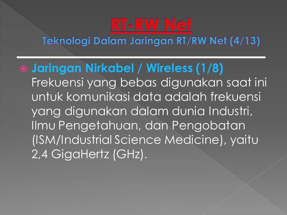  Jaringan Nirkabel / Wireless (1/8) Frekuensi yang bebas digunakan saat ini untuk komunikasi data adalah frekuensi yang digunakan dalam dunia Industr