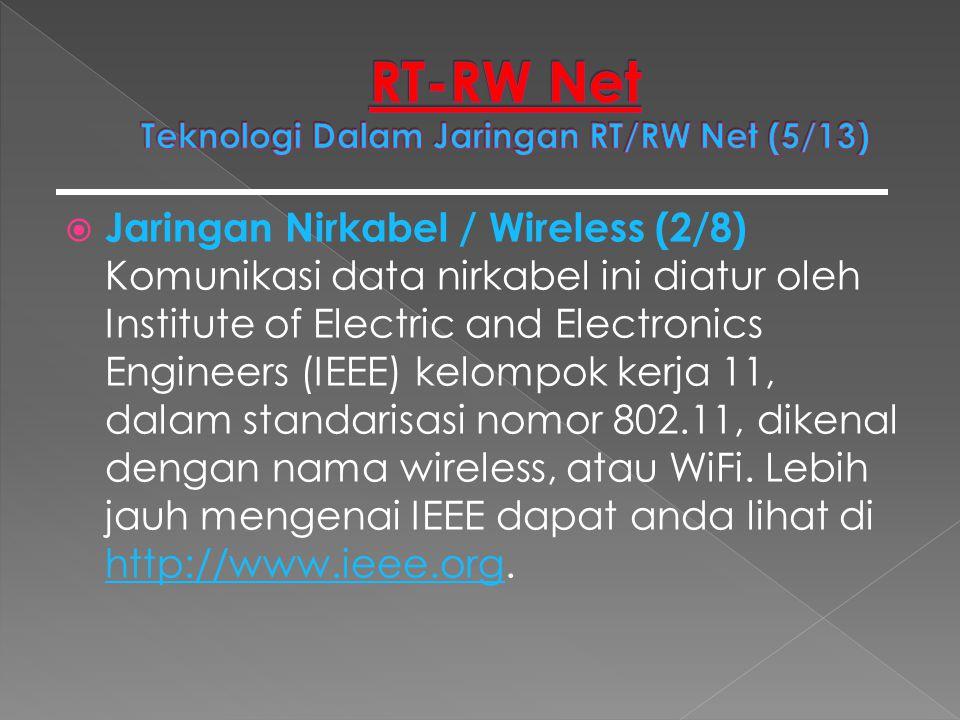  Jaringan Nirkabel / Wireless (2/8) Komunikasi data nirkabel ini diatur oleh Institute of Electric and Electronics Engineers (IEEE) kelompok kerja 11