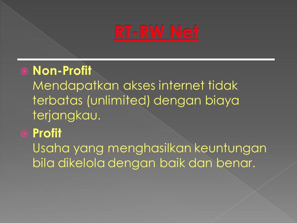  Non-Profit Mendapatkan akses internet tidak terbatas (unlimited) dengan biaya terjangkau.  Profit Usaha yang menghasilkan keuntungan bila dikelola