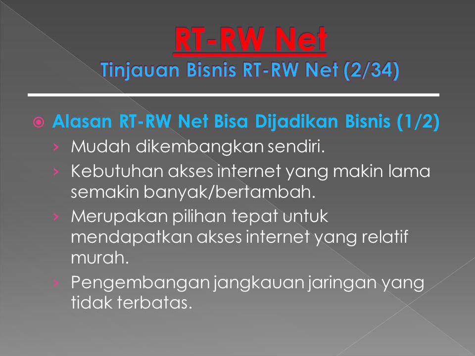  Alasan RT-RW Net Bisa Dijadikan Bisnis (1/2) › Mudah dikembangkan sendiri. › Kebutuhan akses internet yang makin lama semakin banyak/bertambah. › Me