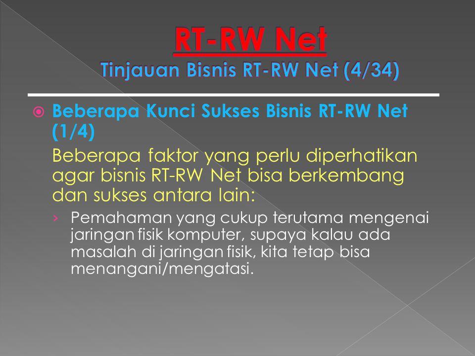  Beberapa Kunci Sukses Bisnis RT-RW Net (1/4) Beberapa faktor yang perlu diperhatikan agar bisnis RT-RW Net bisa berkembang dan sukses antara lain: ›