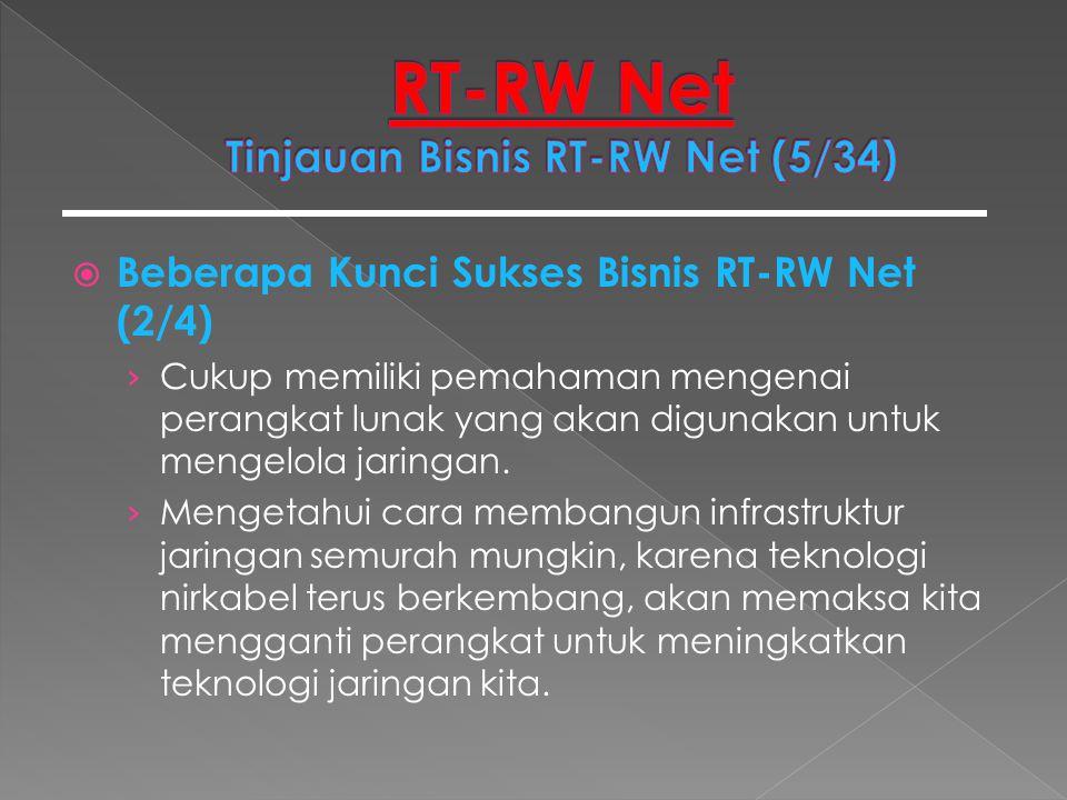  Beberapa Kunci Sukses Bisnis RT-RW Net (2/4) › Cukup memiliki pemahaman mengenai perangkat lunak yang akan digunakan untuk mengelola jaringan. › Men