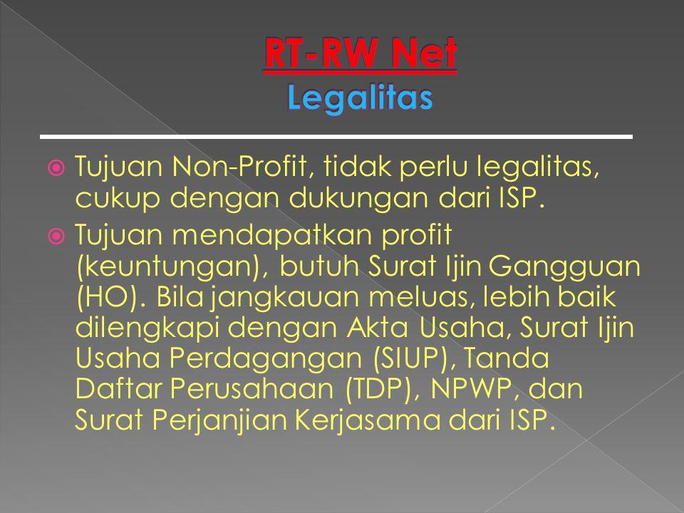  Tujuan Non-Profit, tidak perlu legalitas, cukup dengan dukungan dari ISP.  Tujuan mendapatkan profit (keuntungan), butuh Surat Ijin Gangguan (HO).