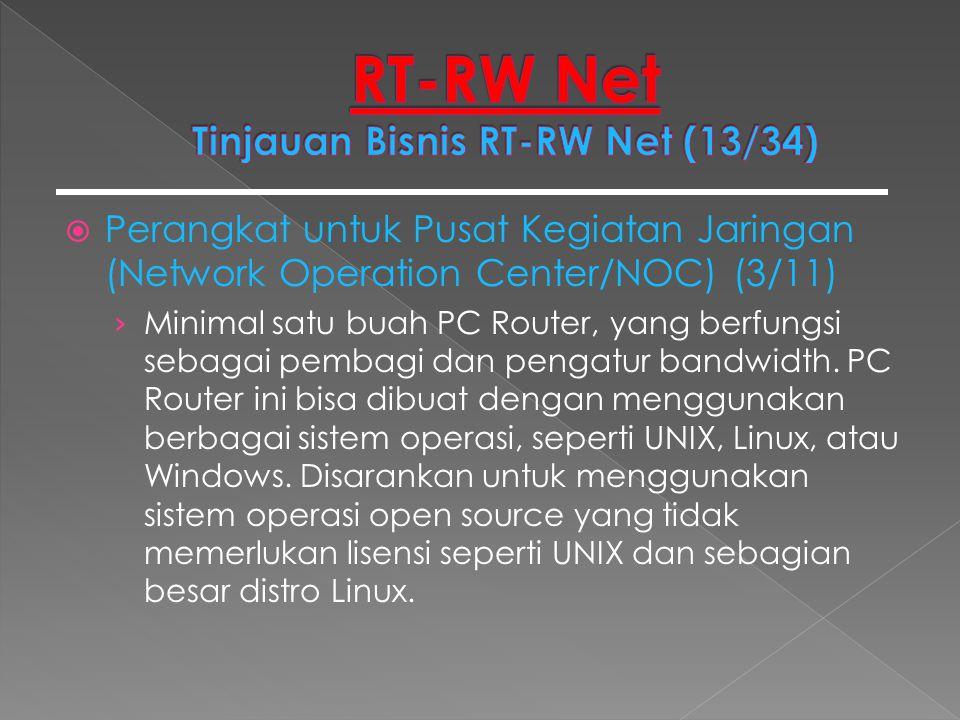  Perangkat untuk Pusat Kegiatan Jaringan (Network Operation Center/NOC) (3/11) › Minimal satu buah PC Router, yang berfungsi sebagai pembagi dan peng