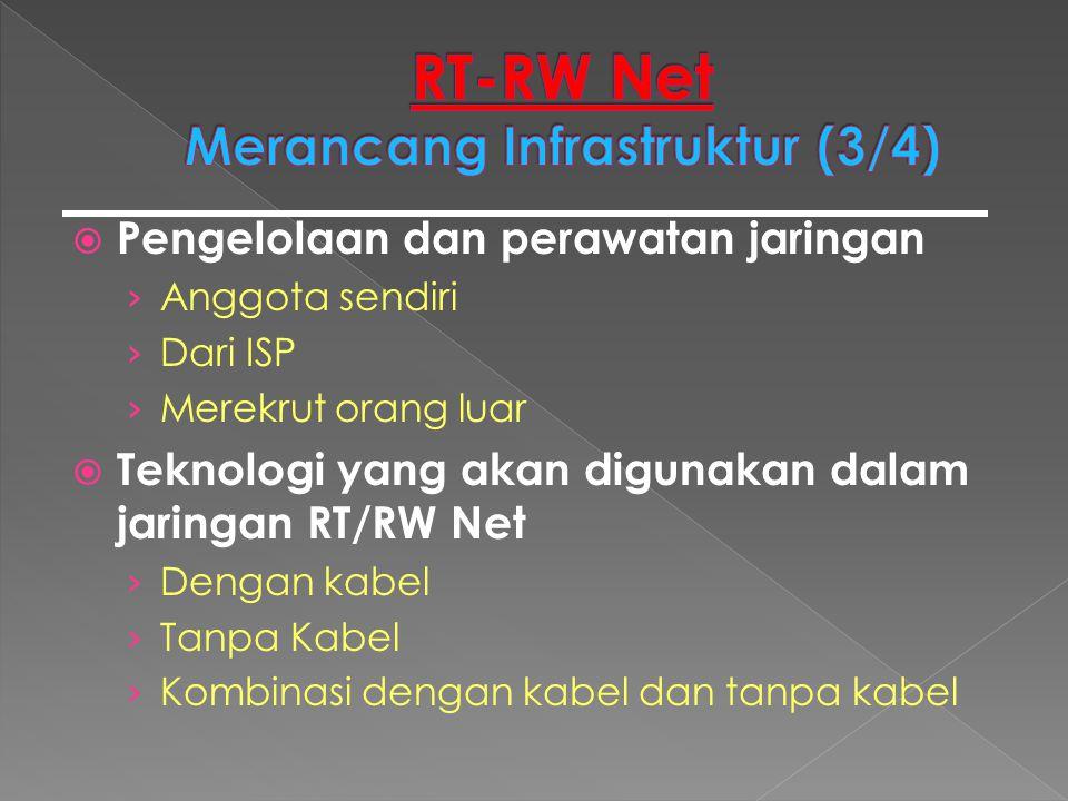  Pengelolaan dan perawatan jaringan › Anggota sendiri › Dari ISP › Merekrut orang luar  Teknologi yang akan digunakan dalam jaringan RT/RW Net › Den