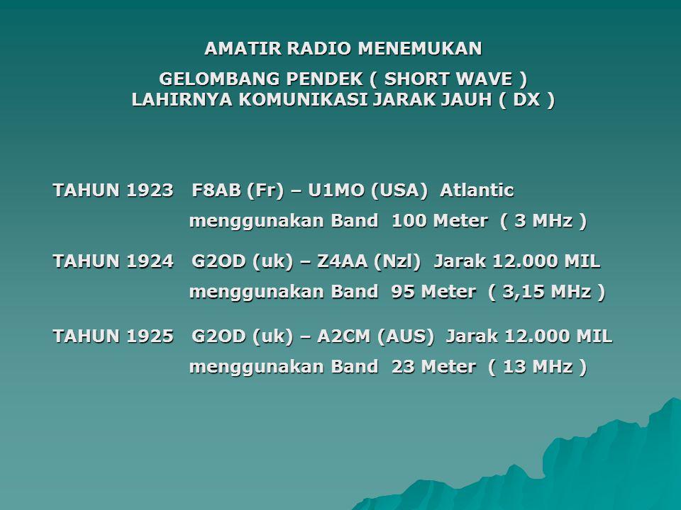 AMATIR RADIO MENEMUKAN GELOMBANG PENDEK ( SHORT WAVE ) LAHIRNYA KOMUNIKASI JARAK JAUH ( DX ) TAHUN 1924 G2OD (uk) – Z4AA (Nzl) Jarak 12.000 MIL menggunakan Band 95 Meter ( 3,15 MHz ) TAHUN 1925 G2OD (uk) – A2CM (AUS) Jarak 12.000 MIL menggunakan Band 23 Meter ( 13 MHz ) TAHUN 1923 F8AB (Fr) – U1MO (USA) Atlantic menggunakan Band 100 Meter ( 3 MHz )