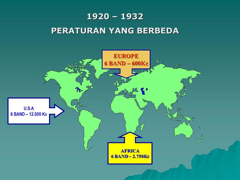 1920 – 1932 PERATURAN YANG BERBEDA U.S.A 6 BAND – 12.000 Kc AFRICA 6 BAND – 2.750Kc EUROPE 6 BAND – 600Kc