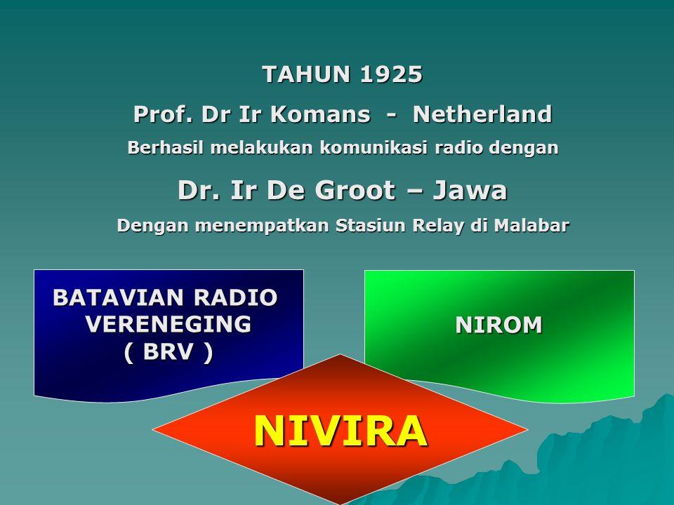 TAHUN 1925 Prof. Dr Ir Komans - Netherland Berhasil melakukan komunikasi radio dengan Dr. Ir De Groot – Jawa Dengan menempatkan Stasiun Relay di Malab
