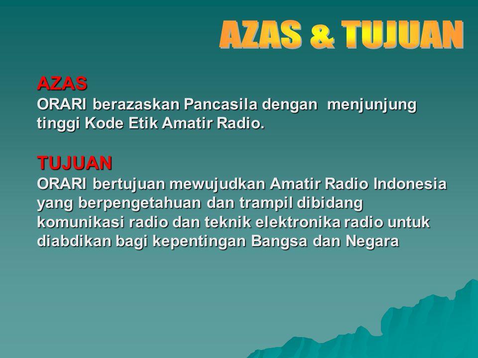 AZAS ORARI berazaskan Pancasila dengan menjunjung tinggi Kode Etik Amatir Radio. TUJUAN ORARI bertujuan mewujudkan Amatir Radio Indonesia yang berpeng