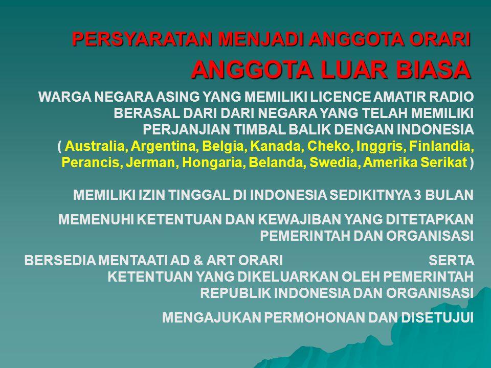 WARGA NEGARA ASING YANG MEMILIKI LICENCE AMATIR RADIO BERASAL DARI NEGARA YANG TELAH MEMILIKI PERJANJIAN TIMBAL BALIK DENGAN INDONESIA ( Australia, Ar