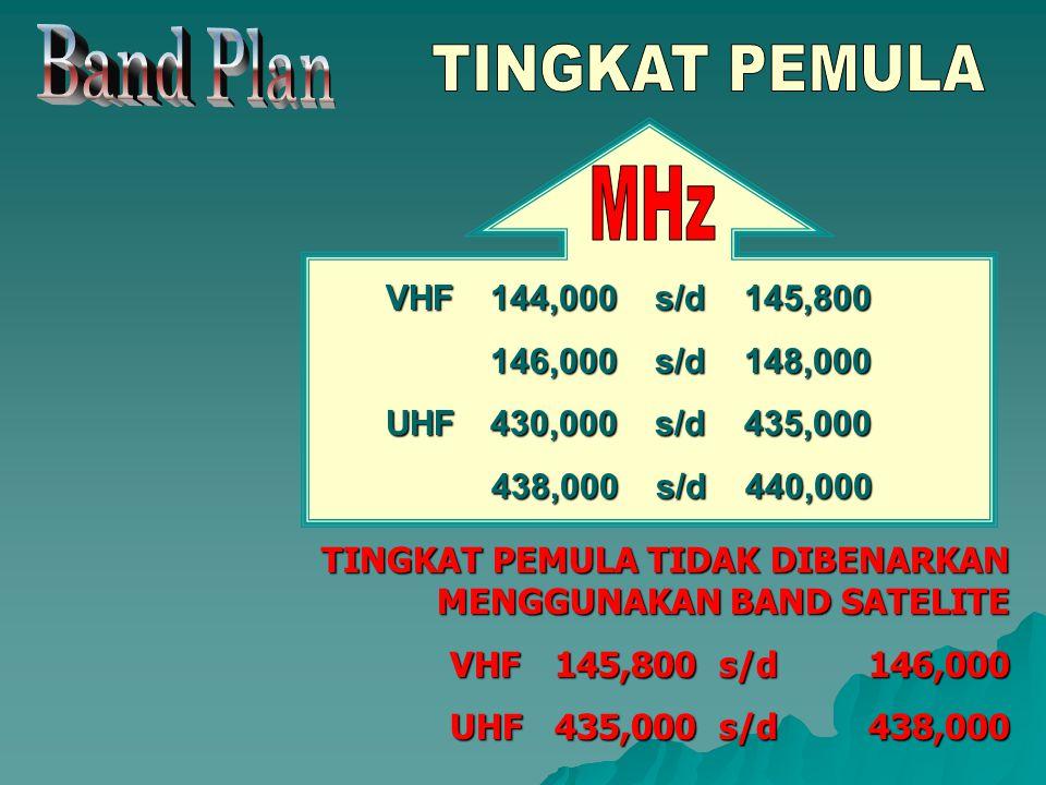 VHF144,000 s/d 145,800 146,000 s/d 148,000 UHF430,000 s/d 435,000 438,000 s/d 440,000 TINGKAT PEMULA TIDAK DIBENARKAN MENGGUNAKAN BAND SATELITE VHF145,800 s/d146,000 UHF435,000 s/d438,000