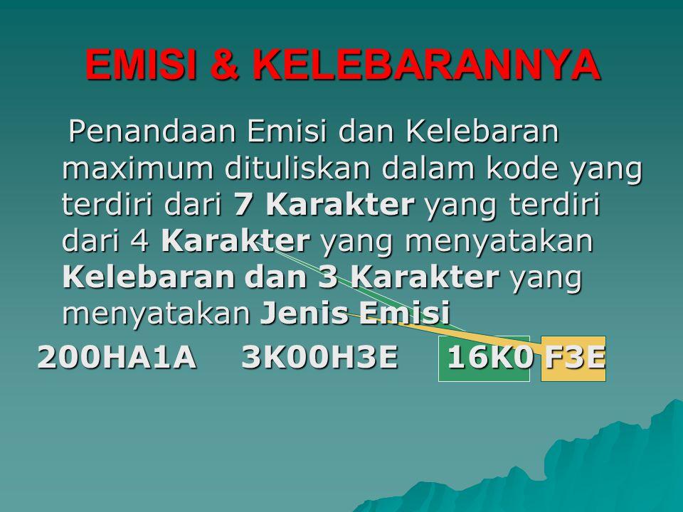 EMISI & KELEBARANNYA Penandaan Emisi dan Kelebaran maximum dituliskan dalam kode yang terdiri dari 7 Karakter Karakter yang terdiri dari 4 yang menyatakan Kelebaran dan 3 yang menyatakan Jenis Emisi 200HA1A3K00H3E16K0 F3E
