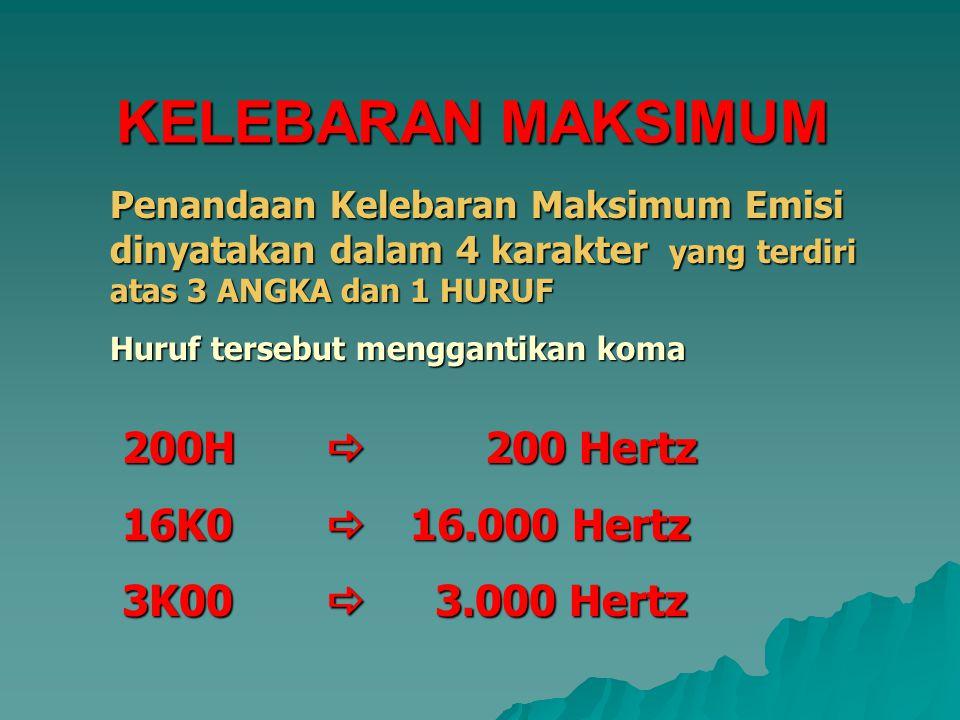 Penandaan Kelebaran Maksimum Emisi dinyatakan dalam 4 karakter karakter yang terdiri atas 3 ANGKA dan 1 HURUF Huruf tersebut menggantikan koma KELEBARAN MAKSIMUM 200H  200 Hertz 16K0 16.000 Hertz 3K00  3.000 Hertz