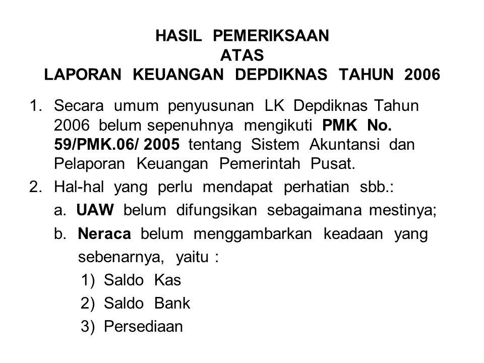 HASIL PEMERIKSAAN ATAS LAPORAN KEUANGAN DEPDIKNAS TAHUN 2006 1.Secara umum penyusunan LK Depdiknas Tahun 2006 belum sepenuhnya mengikuti PMK No.
