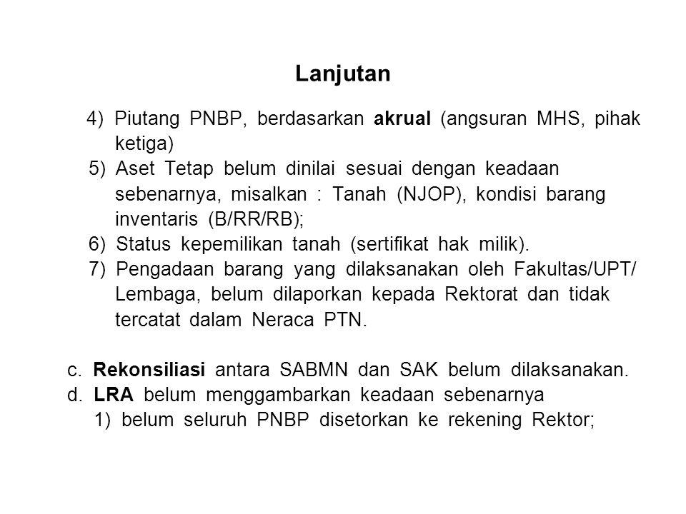 Lanjutan 4) Piutang PNBP, berdasarkan akrual (angsuran MHS, pihak ketiga) 5) Aset Tetap belum dinilai sesuai dengan keadaan sebenarnya, misalkan : Tanah (NJOP), kondisi barang inventaris (B/RR/RB); 6) Status kepemilikan tanah (sertifikat hak milik).