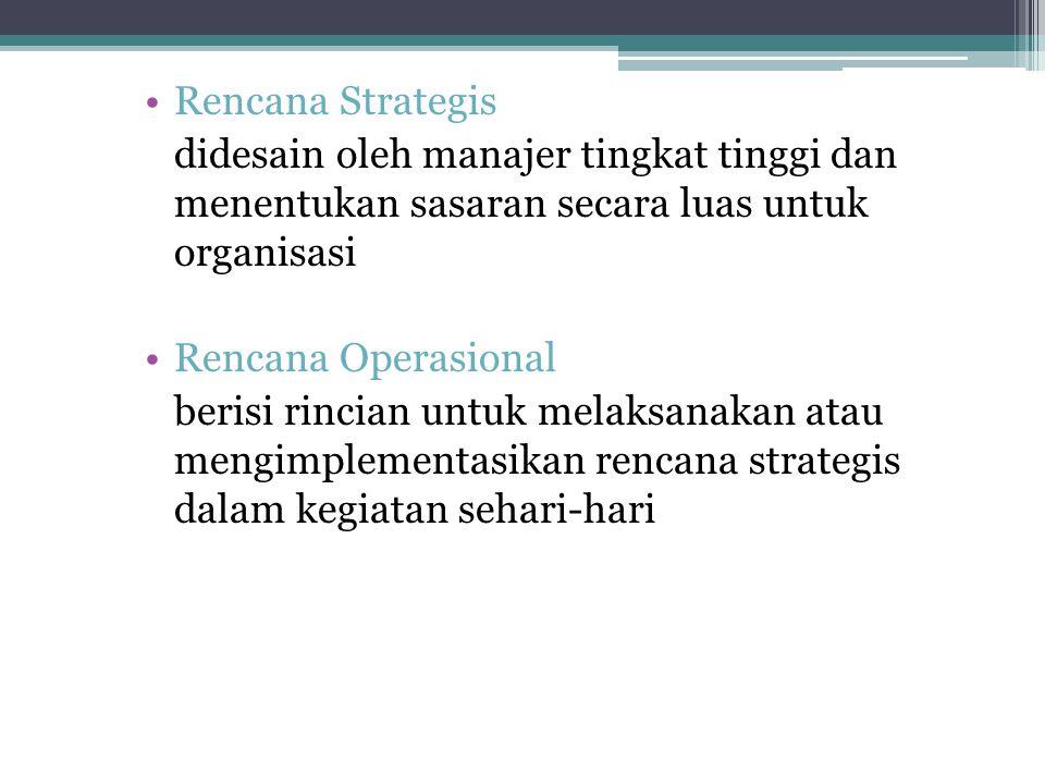 Rencana Strategis didesain oleh manajer tingkat tinggi dan menentukan sasaran secara luas untuk organisasi Rencana Operasional berisi rincian untuk melaksanakan atau mengimplementasikan rencana strategis dalam kegiatan sehari-hari