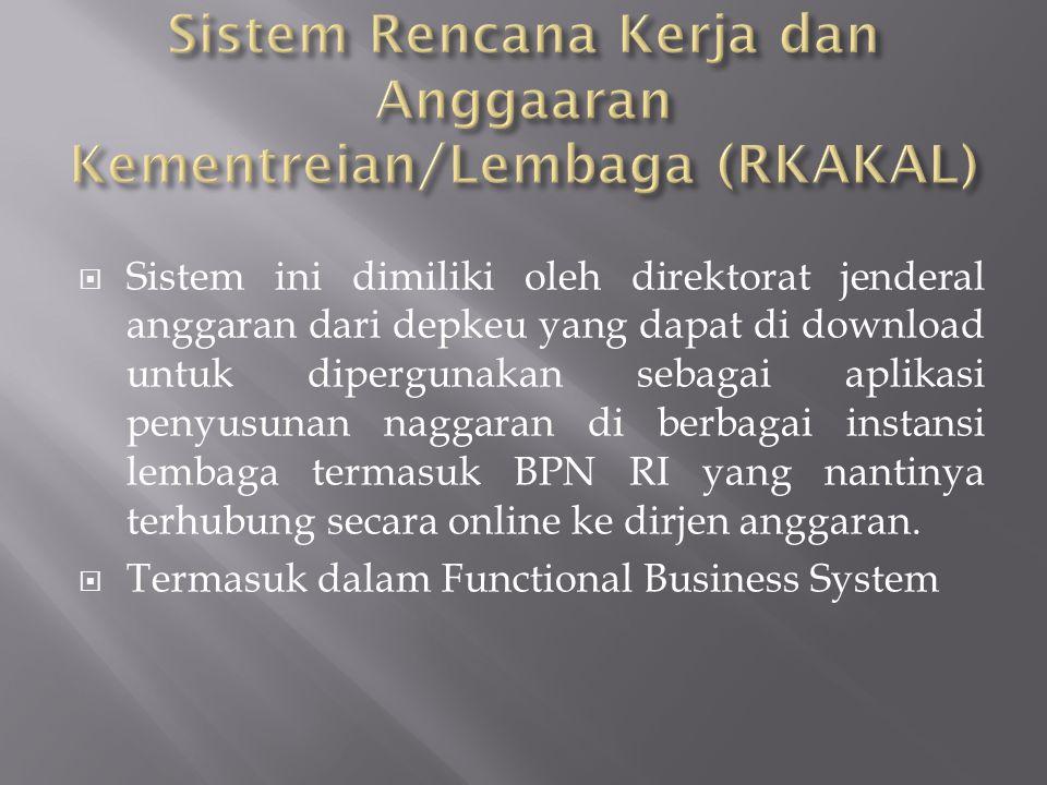  Sistem ini dimiliki oleh direktorat jenderal anggaran dari depkeu yang dapat di download untuk dipergunakan sebagai aplikasi penyusunan naggaran di berbagai instansi lembaga termasuk BPN RI yang nantinya terhubung secara online ke dirjen anggaran.