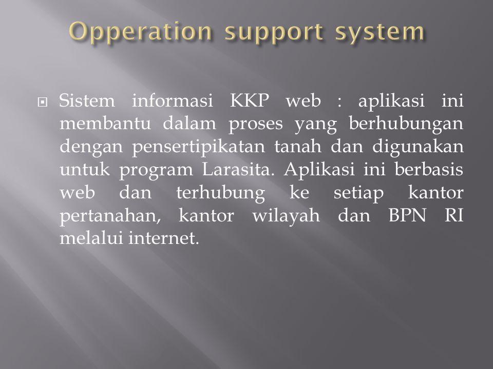  Sistem informasi KKP web : aplikasi ini membantu dalam proses yang berhubungan dengan pensertipikatan tanah dan digunakan untuk program Larasita. Ap