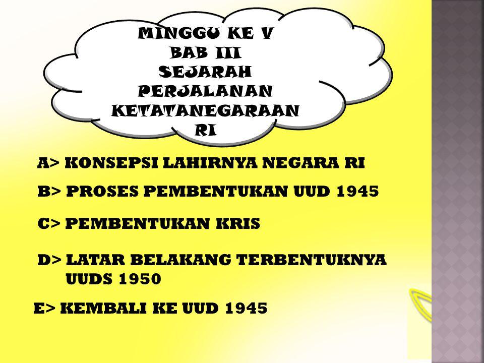 A.KONSEPSI LAHIRNYA NEGARA RI 17 – 8 – 1945 18 – 8 – 1945 ( Dari Sudut HTN ) Lahirnya Hukum Indonesia .