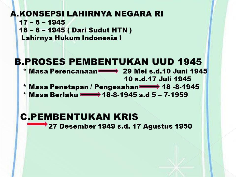 A.KONSEPSI LAHIRNYA NEGARA RI 17 – 8 – 1945 18 – 8 – 1945 ( Dari Sudut HTN ) Lahirnya Hukum Indonesia ! B.PROSES PEMBENTUKAN UUD 1945 * Masa Perencana