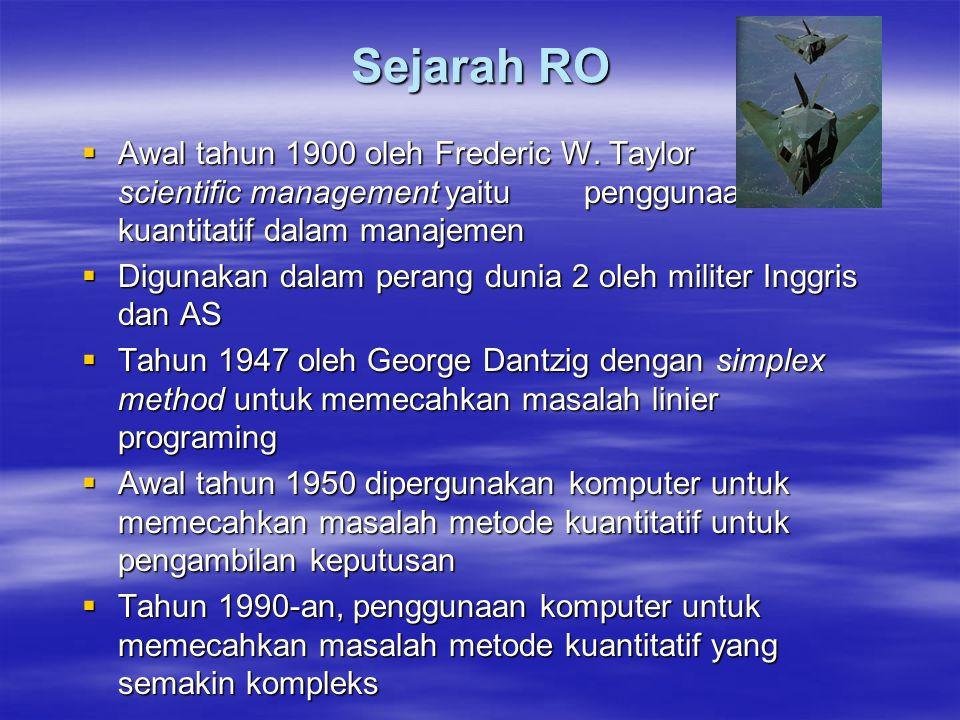 Sejarah RO  Awal tahun 1900 oleh Frederic W. Taylor dengan scientific management yaitu penggunaan metode kuantitatif dalam manajemen  Digunakan dala