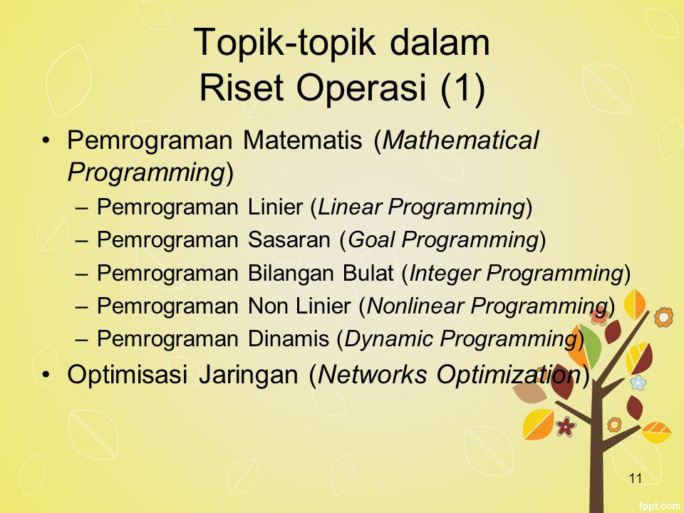 11 Topik-topik dalam Riset Operasi (1) Pemrograman Matematis (Mathematical Programming) –Pemrograman Linier (Linear Programming) –Pemrograman Sasaran
