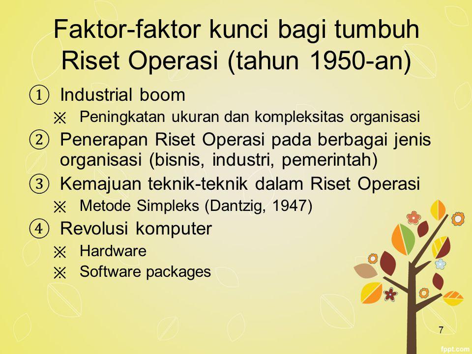 7 Faktor-faktor kunci bagi tumbuh Riset Operasi (tahun 1950-an) ① Industrial boom ※ Peningkatan ukuran dan kompleksitas organisasi ② Penerapan Riset O