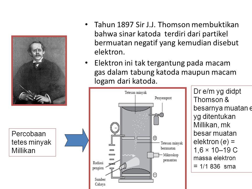 Tahun 1897 Sir J.J. Thomson membuktikan bahwa sinar katoda terdiri dari partikel bermuatan negatif yang kemudian disebut elektron. Elektron ini tak te