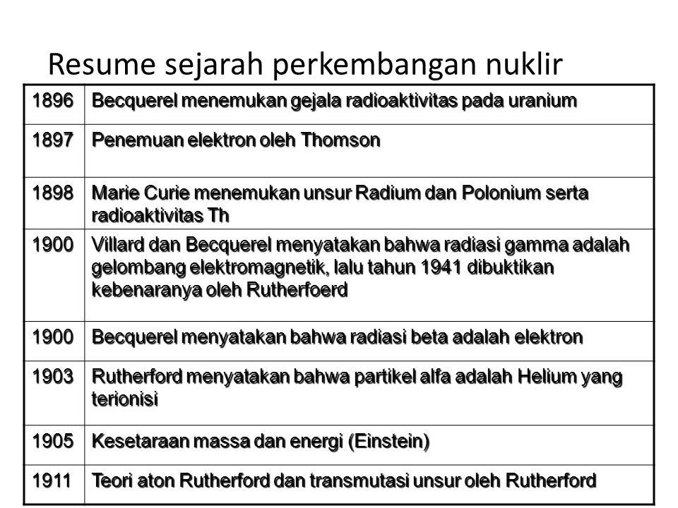 1913 Teori atom Bohr (atom hidrogen) 1919 Reaksi Nuklir pertama(Rutherford), dari nitrogen ditembak alfa 1924 Dualisme partikel gelombang de Broglie 1926 Persamaan gelombang schodinger 1927 Prinsip ketidakpastian oleh Heisenberg 1928 Geiger dan Muller membuat tabung G-M untuk deteksi/ pengukuran radiasi 1930 Penemuan siklotron oleh Lawrance 1932 Penemuan Netron oleh Chadwich, Positrn oleh anderson dan deuterium oleh Urey Resume sejarah perkembangan nuklir
