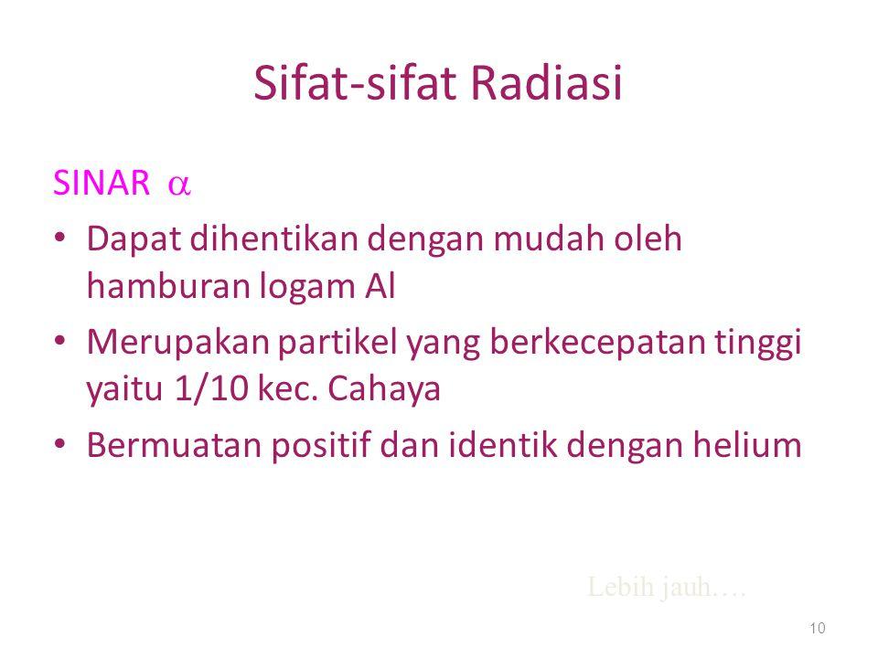 Sifat-sifat Radiasi SINAR  Dapat dihentikan dengan mudah oleh hamburan logam Al Merupakan partikel yang berkecepatan tinggi yaitu 1/10 kec. Cahaya Be