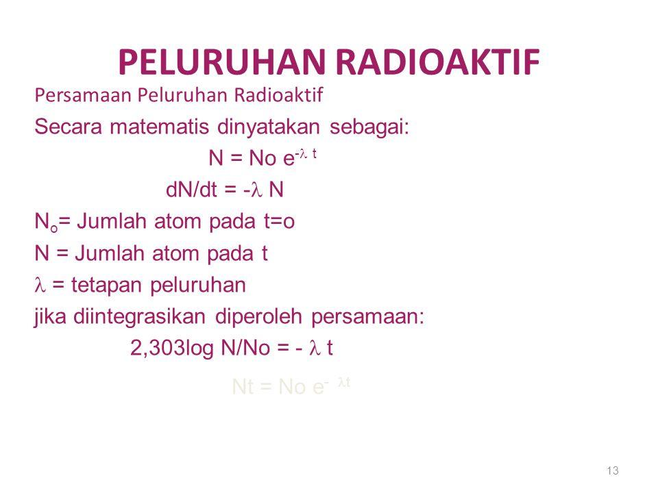 PELURUHAN RADIOAKTIF Persamaan Peluruhan Radioaktif Secara matematis dinyatakan sebagai: N = No e - t dN/dt = - N N o = Jumlah atom pada t=o N = Jumla