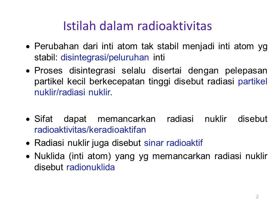 PELURUHAN RADIOAKTIF Persamaan Peluruhan Radioaktif Secara matematis dinyatakan sebagai: N = No e - t dN/dt = - N N o = Jumlah atom pada t=o N = Jumlah atom pada t = tetapan peluruhan jika diintegrasikan diperoleh persamaan: 2,303log N/No = - t Nt = No e - t 13